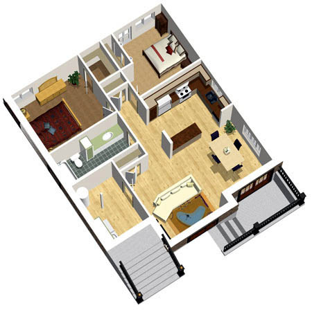 Narrow Lot House Plan 49818 with 2 Beds, 1 Baths Picture 1