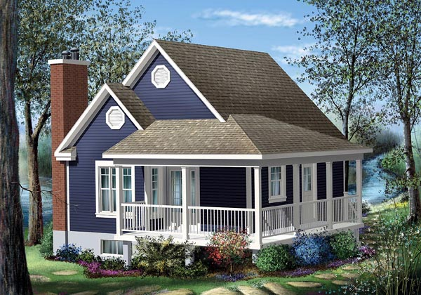 Country House Plan 49824 with 1 Beds, 1 Baths Front Elevation