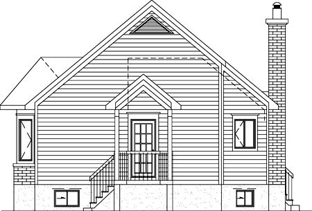 Country, Narrow Lot, One-Story House Plan 49825 with 1 Beds, 1 Baths Rear Elevation