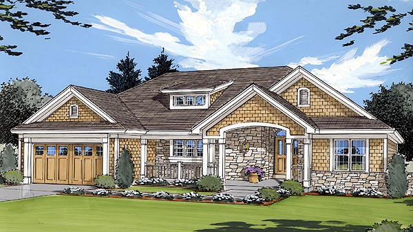 Bungalow, Country, One-Story House Plan 50021 with 3 Beds, 2 Baths Elevation