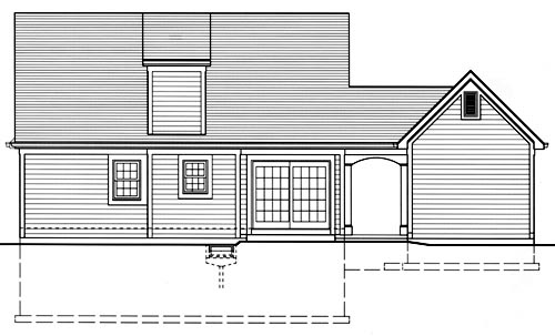 Cape Cod, Country, Southern House Plan 50035 with 3 Beds, 2 Baths, 2 Car Garage Rear Elevation