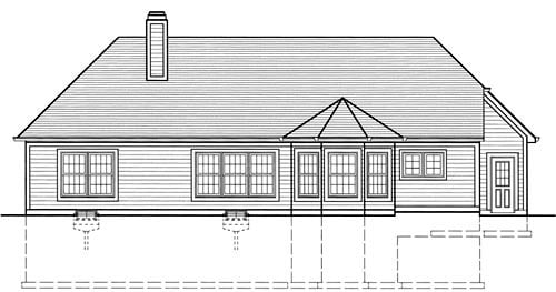 Bungalow, Traditional House Plan 50038 with 3 Beds, 2 Baths, 2 Car Garage Rear Elevation
