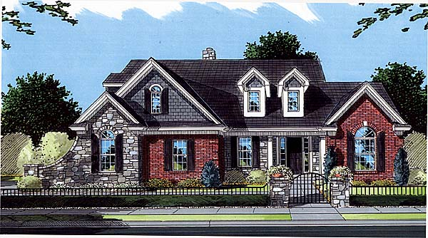 Bungalow, Country, Traditional House Plan 50053 with 4 Beds, 3 Baths, 2 Car Garage Elevation
