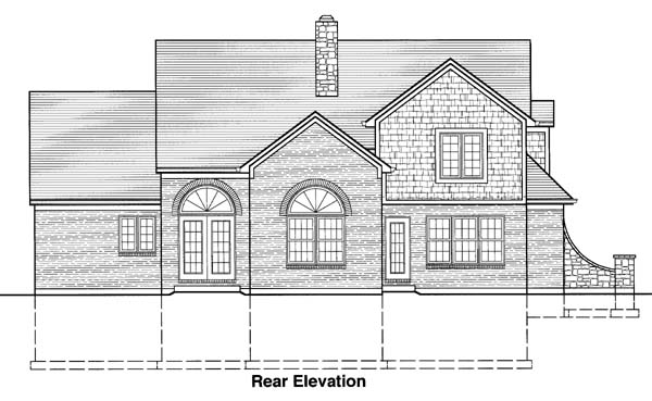 Bungalow, Country, Traditional House Plan 50053 with 4 Beds, 3 Baths, 2 Car Garage Rear Elevation