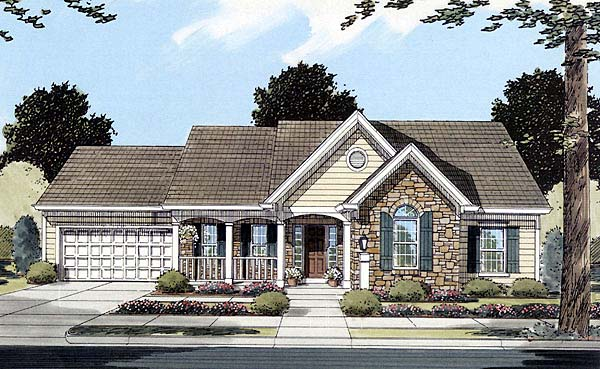 Country House Plan 50081 with 3 Beds, 2 Baths, 2 Car Garage Elevation