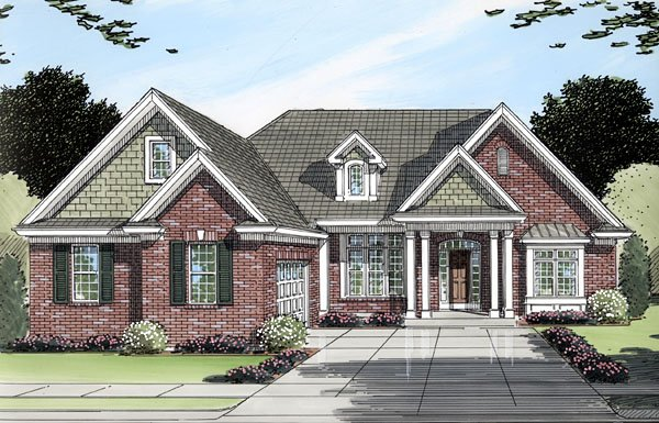 One-Story, Ranch House Plan 50092 with 3 Beds, 2 Baths, 2 Car Garage Elevation