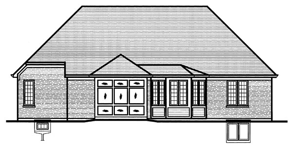 One-Story, Ranch House Plan 50092 with 3 Beds, 2 Baths, 2 Car Garage Rear Elevation