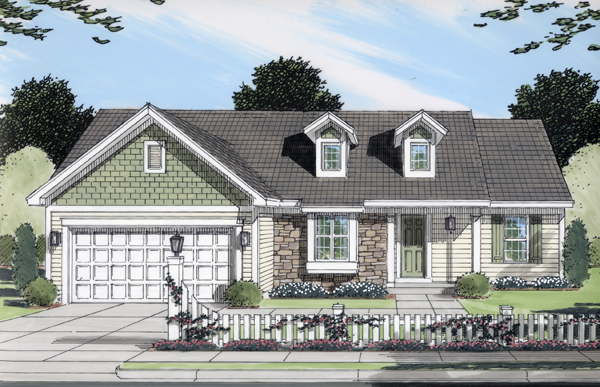 One-Story, Ranch House Plan 50098 with 3 Beds, 2 Baths, 2 Car Garage Front Elevation