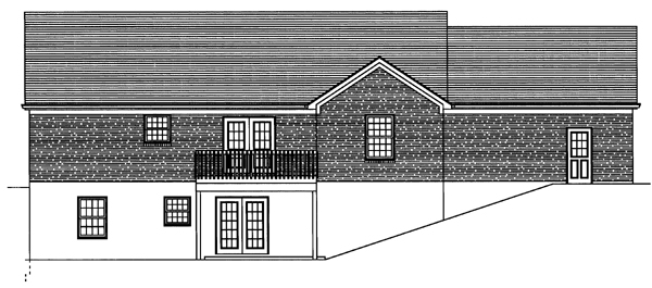 One-Story, Traditional House Plan 50099 with 3 Beds, 2 Baths, 2 Car Garage Rear Elevation