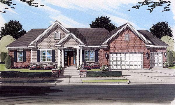 One-Story, Ranch House Plan 50117 with 4 Beds, 3 Baths, 3 Car Garage Elevation