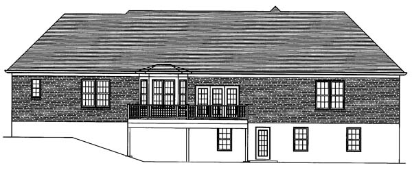 One-Story, Ranch House Plan 50117 with 4 Beds, 3 Baths, 3 Car Garage Rear Elevation