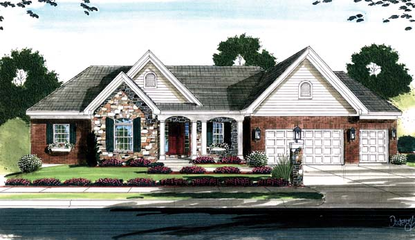 House Plan 50128 with 4 Beds, 3 Baths, 3 Car Garage Front Elevation