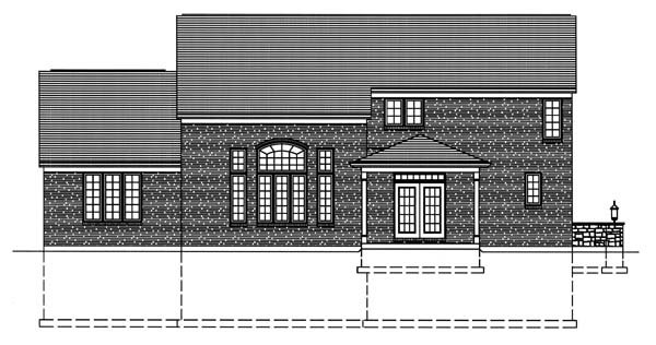 House Plan 50129 with 4 Beds, 3 Baths, 2 Car Garage Rear Elevation