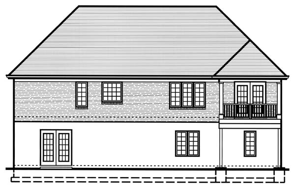 House Plan 50130 with 3 Beds, 2 Baths, 2 Car Garage Rear Elevation