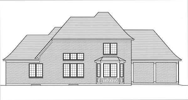 European House Plan 50173 with 4 Beds, 3 Baths, 3 Car Garage Rear Elevation