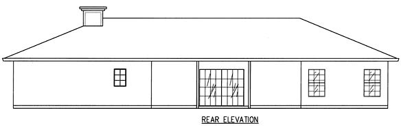 Ranch House Plan 50208 with 4 Beds, 3 Baths, 3 Car Garage Rear Elevation