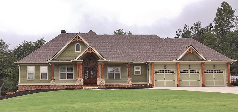 Craftsman, Ranch, Traditional House Plan 50264 with 4 Beds, 3 Baths, 3 Car Garage Front Elevation