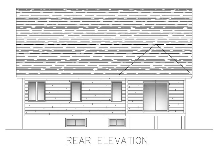 House Plan 50303 with 3 Beds, 3 Baths, 1 Car Garage Rear Elevation