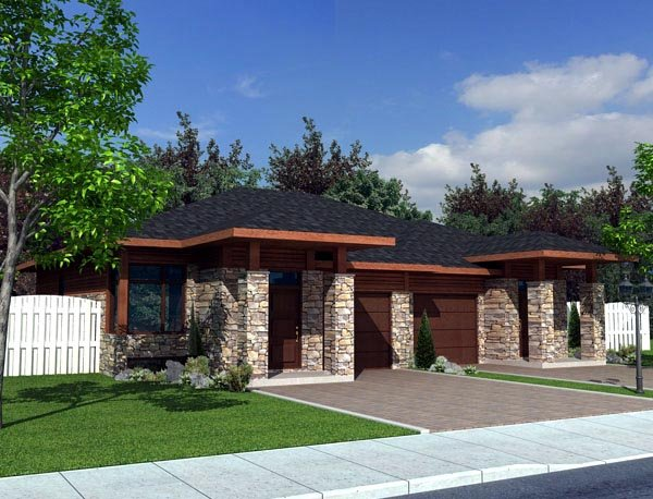 Contemporary Multi-Family Plan 50321 with 4 Beds, 2 Baths, 2 Car Garage Front Elevation