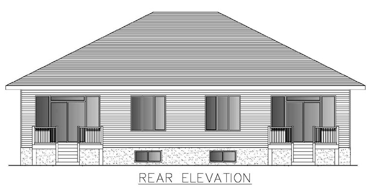 Contemporary Multi-Family Plan 50321 with 4 Beds, 2 Baths, 2 Car Garage Rear Elevation