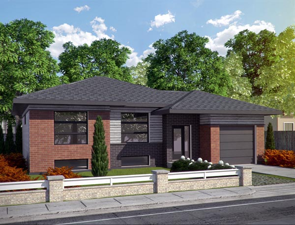 Contemporary House Plan 50339 with 2 Beds, 2 Baths, 1 Car Garage Front Elevation