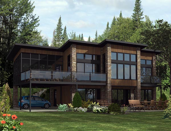 Contemporary House Plan 50344 with 3 Beds, 2 Baths, 2 Car Garage Elevation