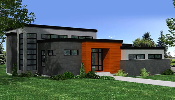 Contemporary House Plan 50347 with 3 Beds, 3 Baths, 4 Car Garage Elevation