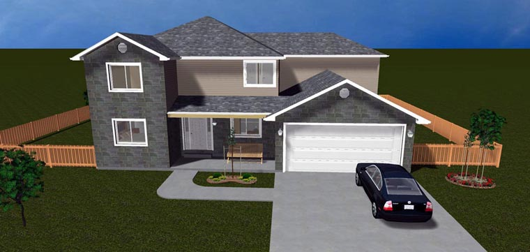 House Plan 50411 with 6 Beds, 4 Baths, 2 Car Garage Elevation