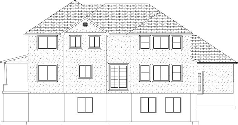 House Plan 50423 with 7 Beds, 4 Baths, 3 Car Garage Rear Elevation
