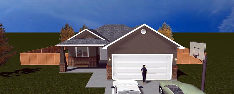 House Plan 50442 with 5 Beds, 3 Baths, 2 Car Garage Elevation