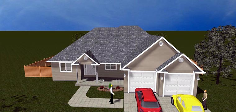 House Plan 50443 with 5 Beds, 3 Baths, 2 Car Garage Elevation