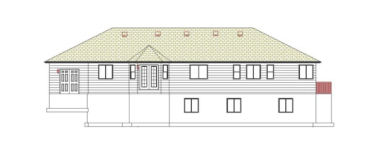 House Plan 50464 with 5 Beds, 4 Baths, 2 Car Garage Rear Elevation