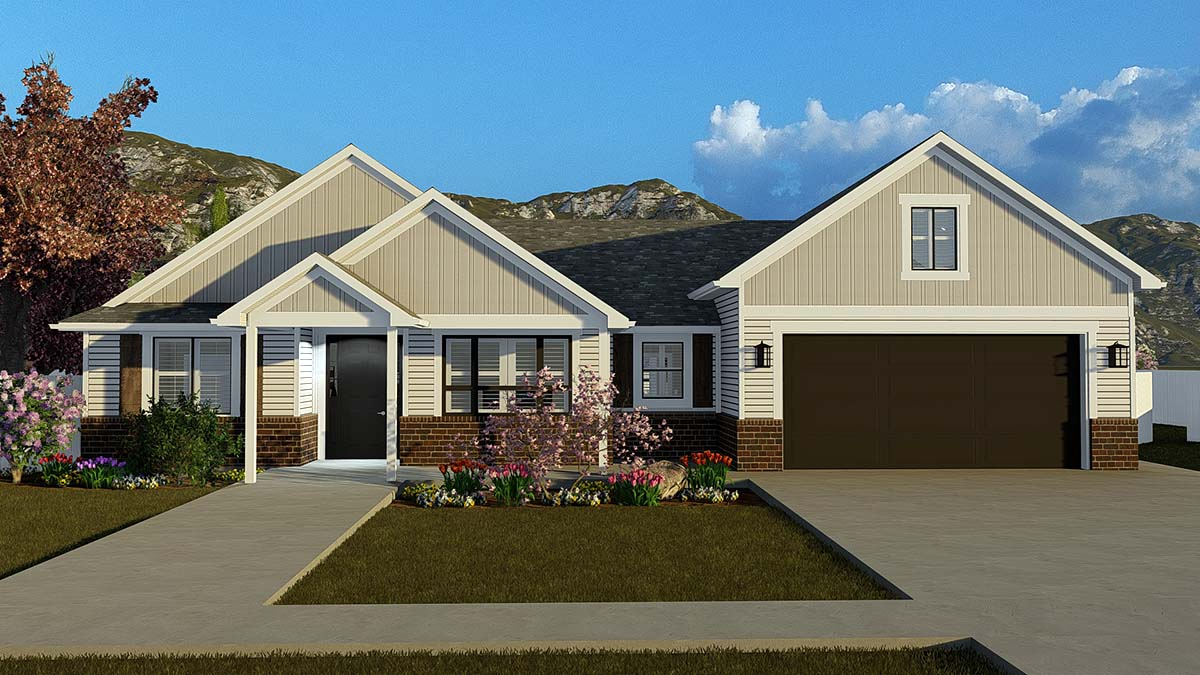 Ranch, Traditional House Plan 50529 with 4 Beds, 3 Baths, 2 Car Garage Elevation