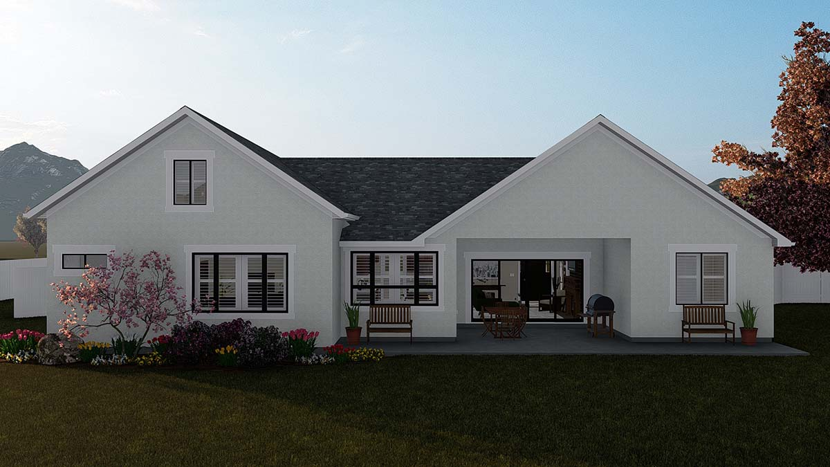 Ranch, Traditional House Plan 50529 with 4 Beds, 3 Baths, 2 Car Garage Rear Elevation