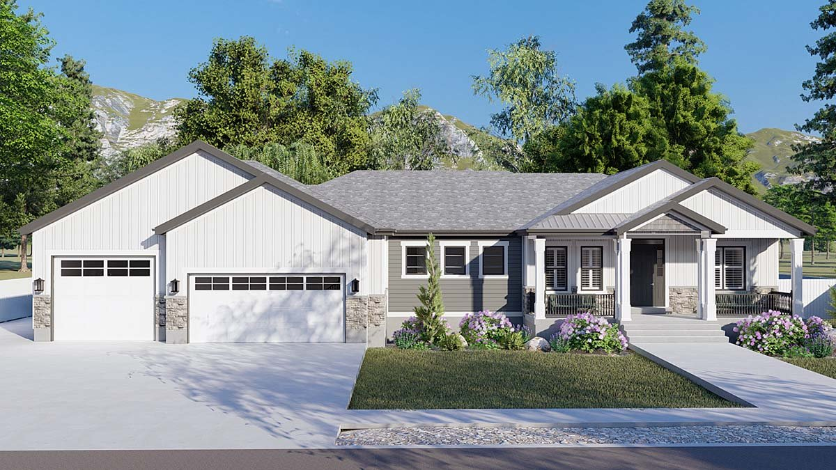 Craftsman, Ranch, Traditional House Plan 50536 with 6 Beds, 5 Baths, 3 Car Garage Elevation