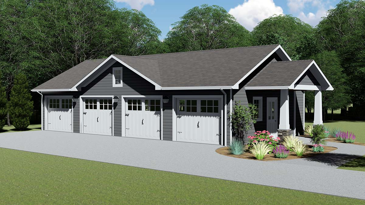 4 Car Garage Plan 50608 Elevation