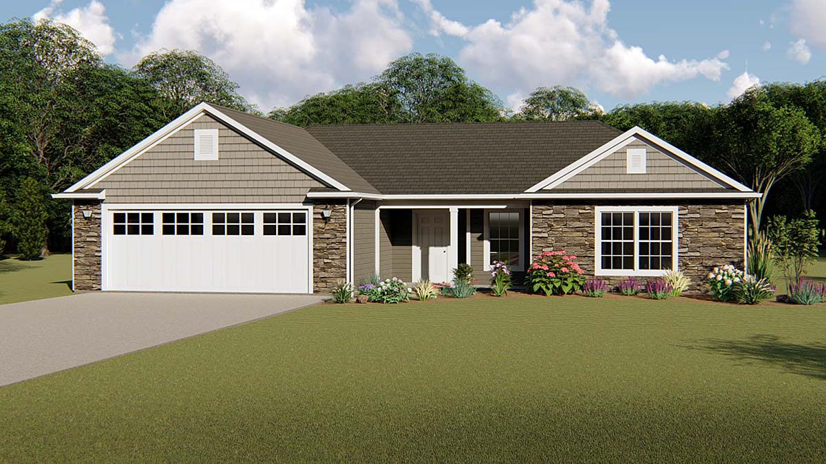 Ranch, Traditional House Plan 50643 with 3 Beds, 2 Baths, 2 Car Garage Elevation