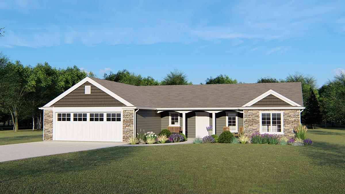 House Plan 50651 Ranch Style With 1779 Sq Ft 3 Bed 2 Bath 1 Half Bath