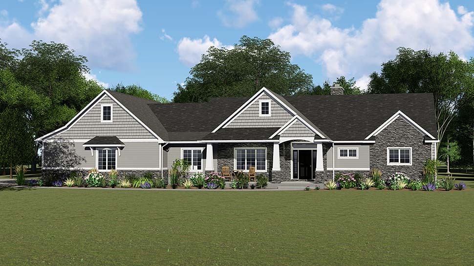 Country, Craftsman, Ranch House Plan 50652, 2 Car Garage Elevation