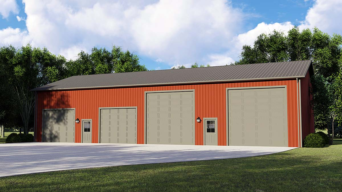 4 Car Garage Plan 50668, RV Storage Front Elevation