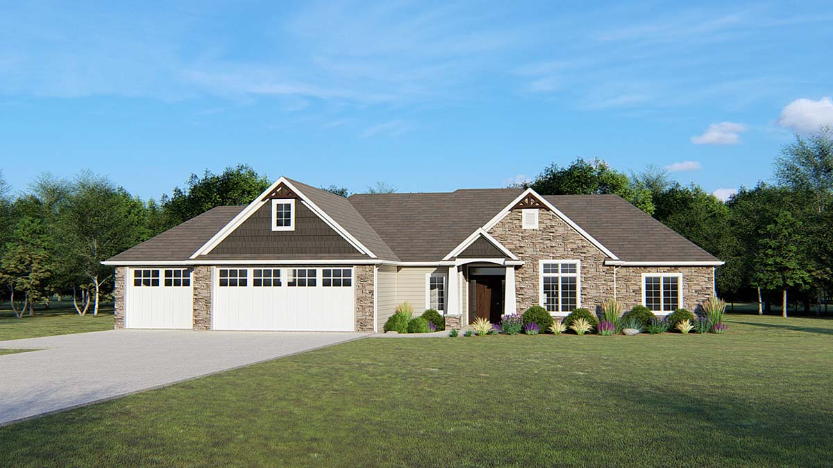 Ranch, Traditional House Plan 50681 with 3 Beds, 3 Baths, 3 Car Garage Elevation