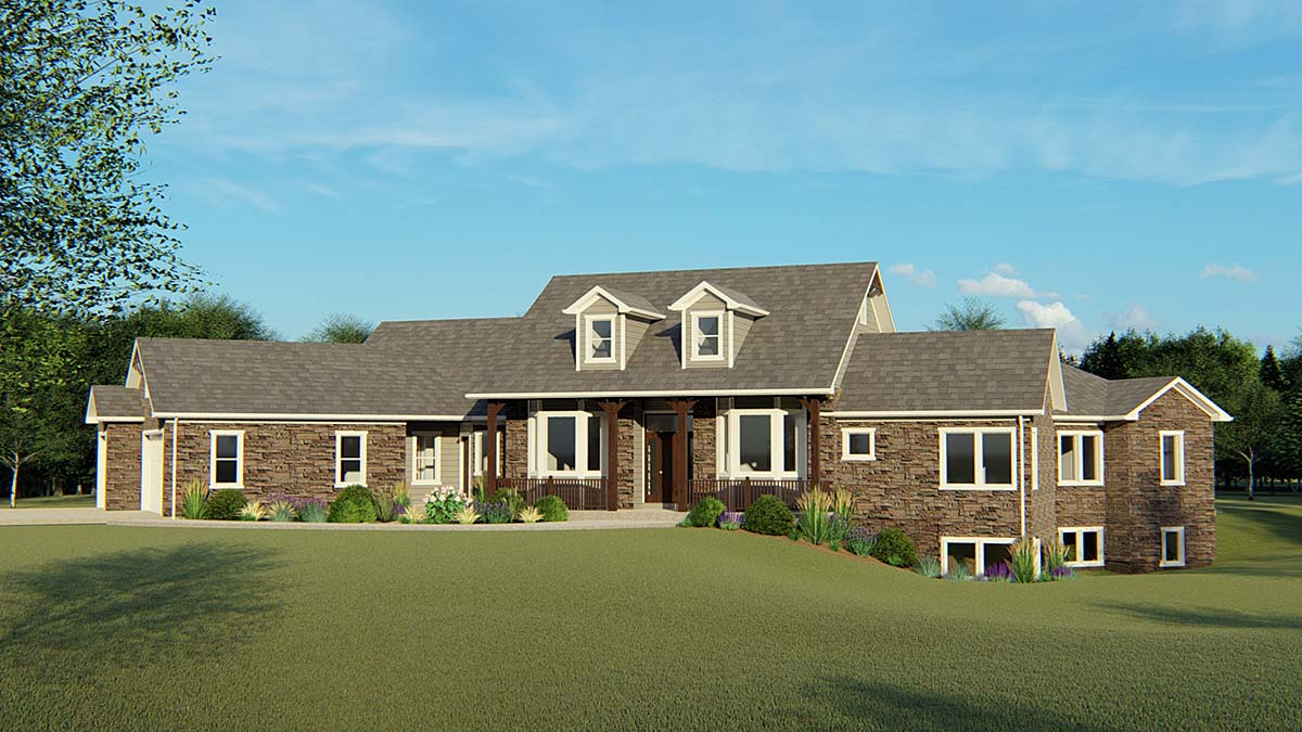 Country, Ranch, Southern House Plan 50695 with 3 Beds, 4 Baths, 3 Car Garage Elevation