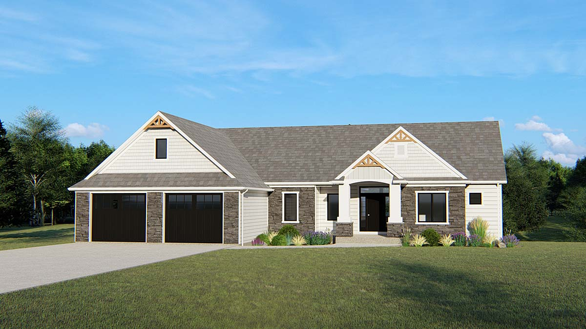 Cottage, Craftsman, Traditional House Plan 50696 with 3 Beds, 3 Baths, 2 Car Garage Elevation