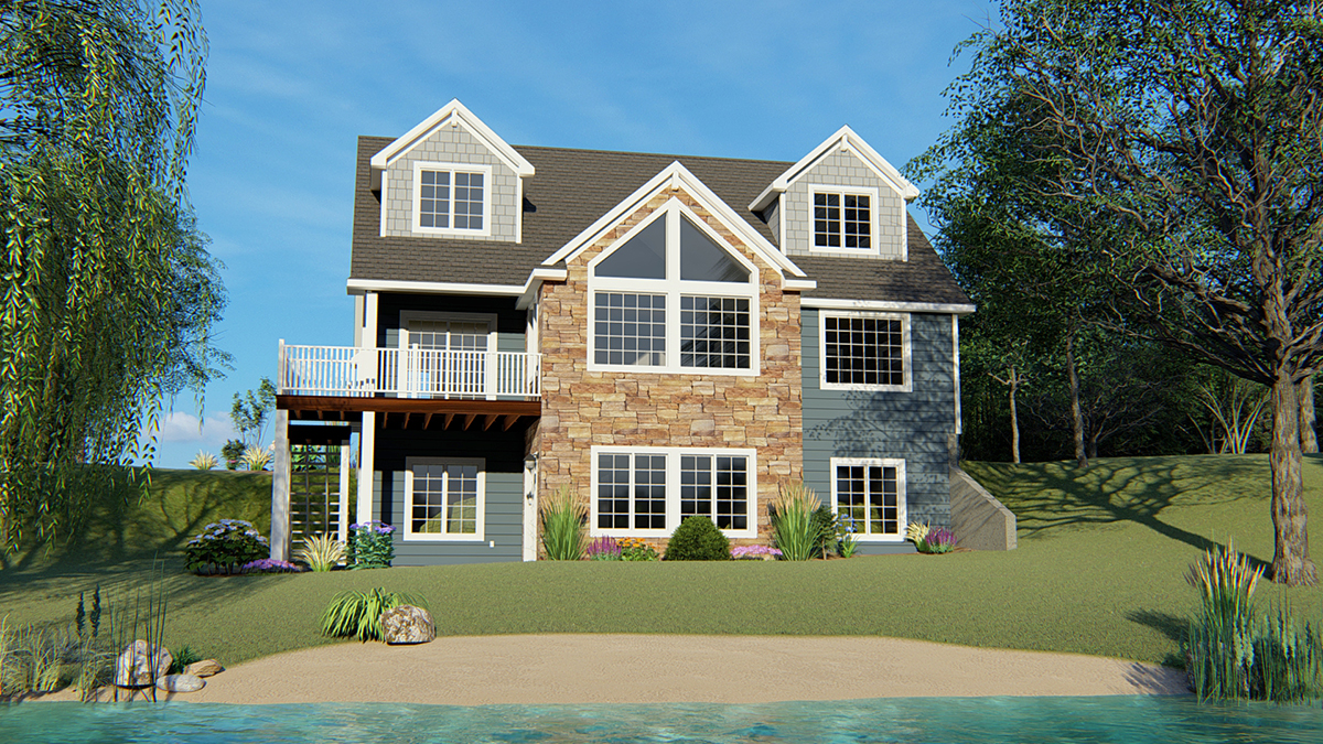Bungalow, Cottage, Country, Craftsman House Plan 50704 with 4 Beds, 4 Baths, 2 Car Garage Rear Elevation