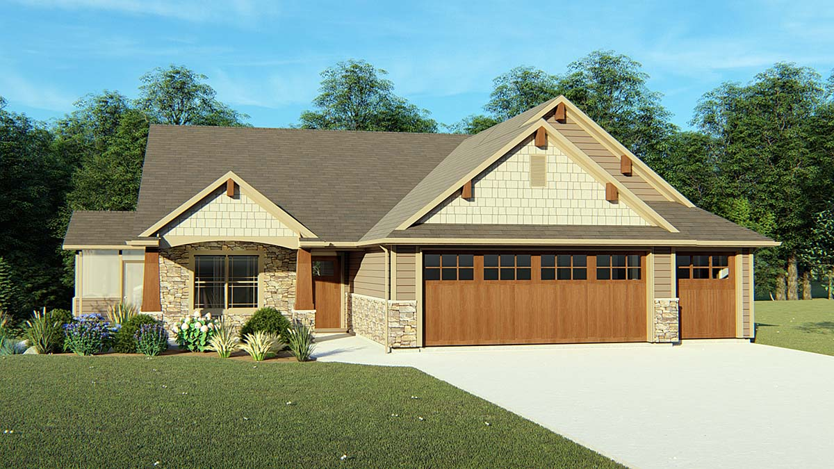 Cottage, Country, Craftsman, Traditional House Plan 50725 with 2 Beds, 2 Baths, 2 Car Garage Elevation