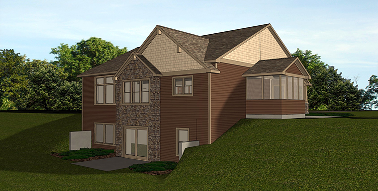 Cottage, Country, Craftsman, Traditional House Plan 50725 with 2 Beds, 2 Baths, 2 Car Garage Rear Elevation