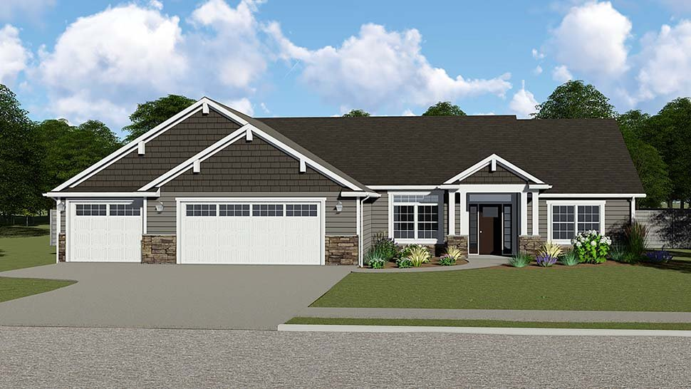 Craftsman, Ranch, Traditional House Plan 50734 with 3 Beds, 3 Baths, 3 Car Garage Elevation