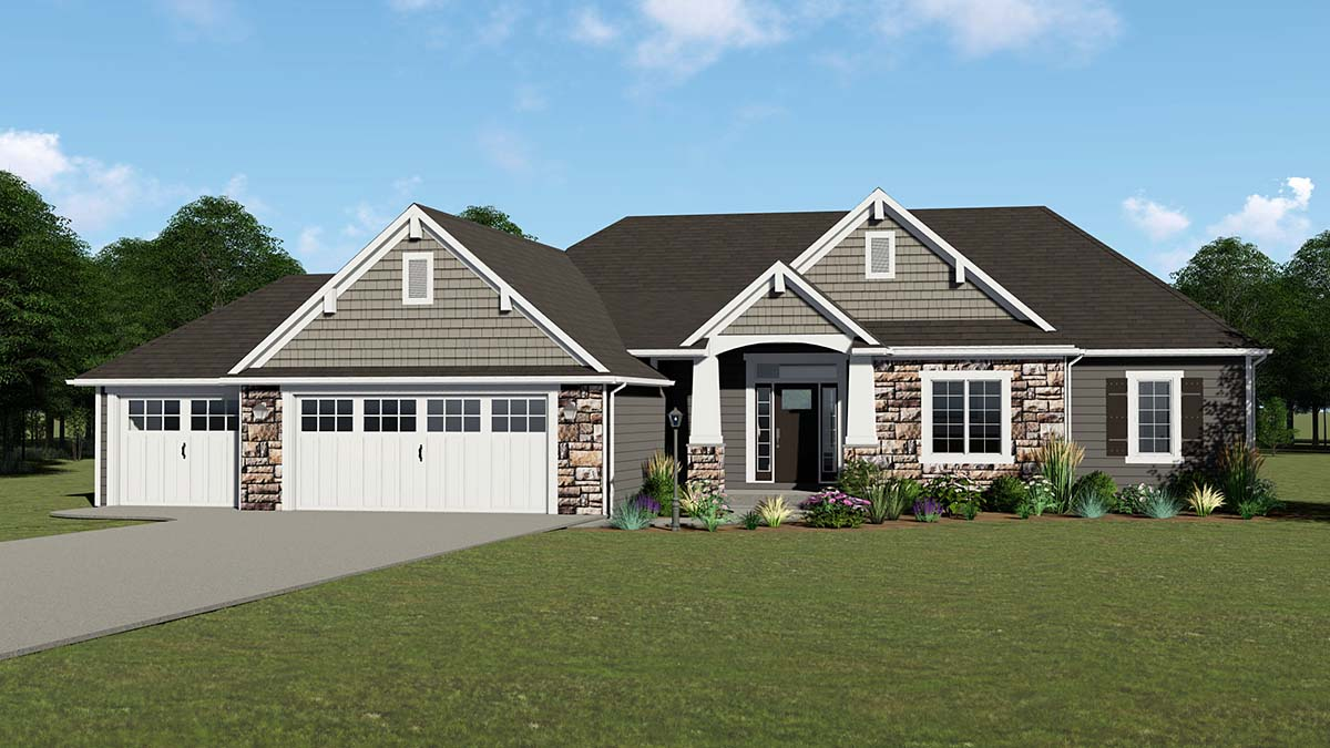 Country, Craftsman, Ranch House Plan 50735 with 4 Beds, 3 Baths, 3 Car Garage Elevation