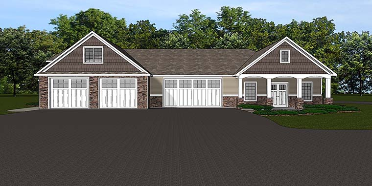 Traditional 4 Car Garage Apartment Plan 50763 Elevation