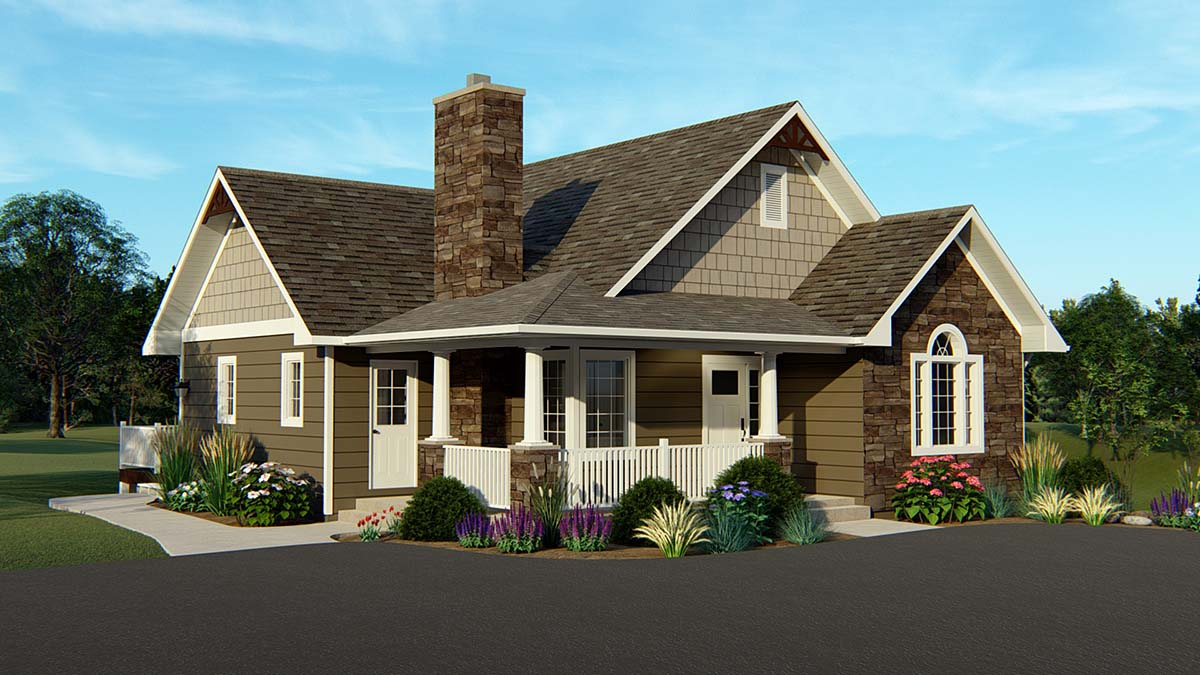 Country, Craftsman House Plan 50765 with 4 Beds, 3 Baths Front Elevation